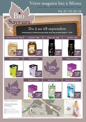 Design mailing promotionnel, magasin Bio Saveurs